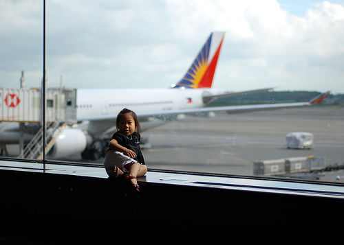 kid on an airport