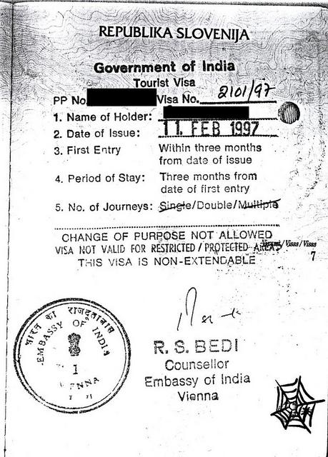 Visa für Indien aus dem Jahr 2007