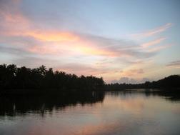 Eine Flusslandschaft mit Palmen und rosa Sonnenuntergangswolken
